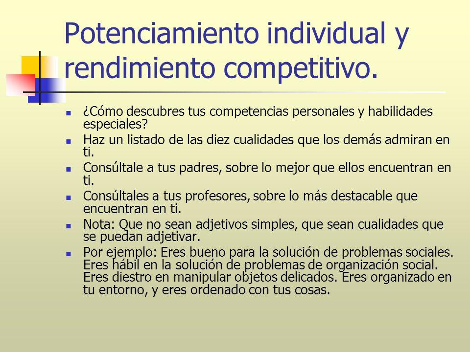 Potenciamiento individual y rendimiento competitivo. ¿Cómo descubres tus competencias personales y habilidades especiales? Haz un listado de las diez