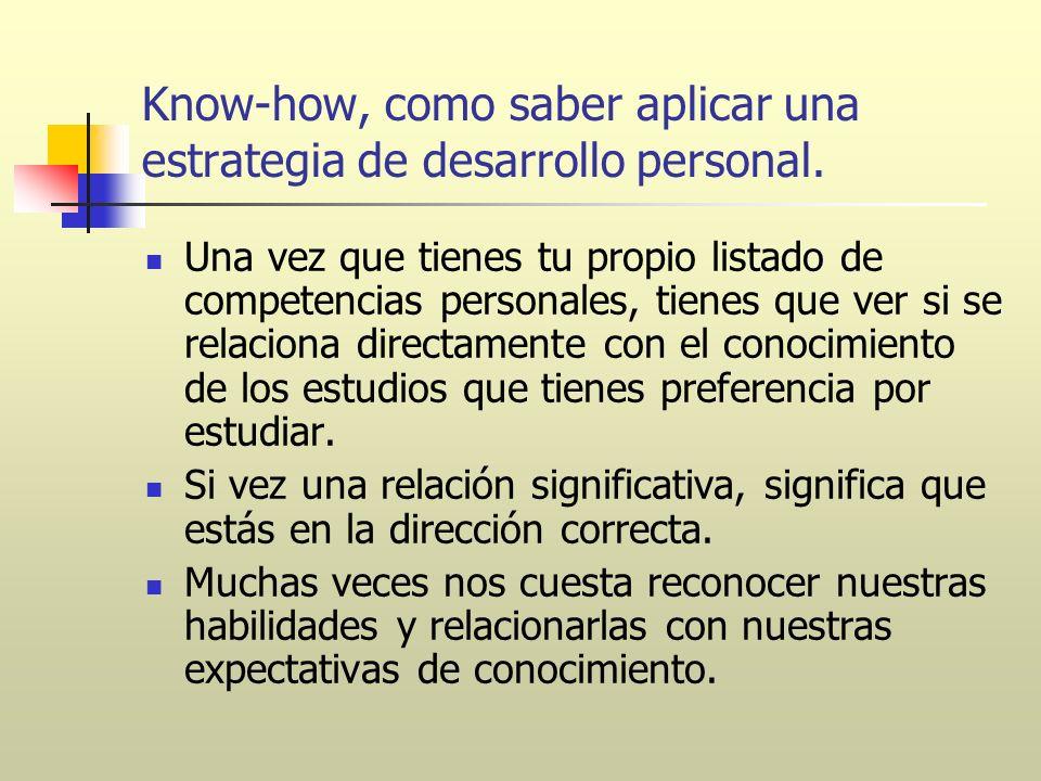 Know-how, como saber aplicar una estrategia de desarrollo personal. Una vez que tienes tu propio listado de competencias personales, tienes que ver si