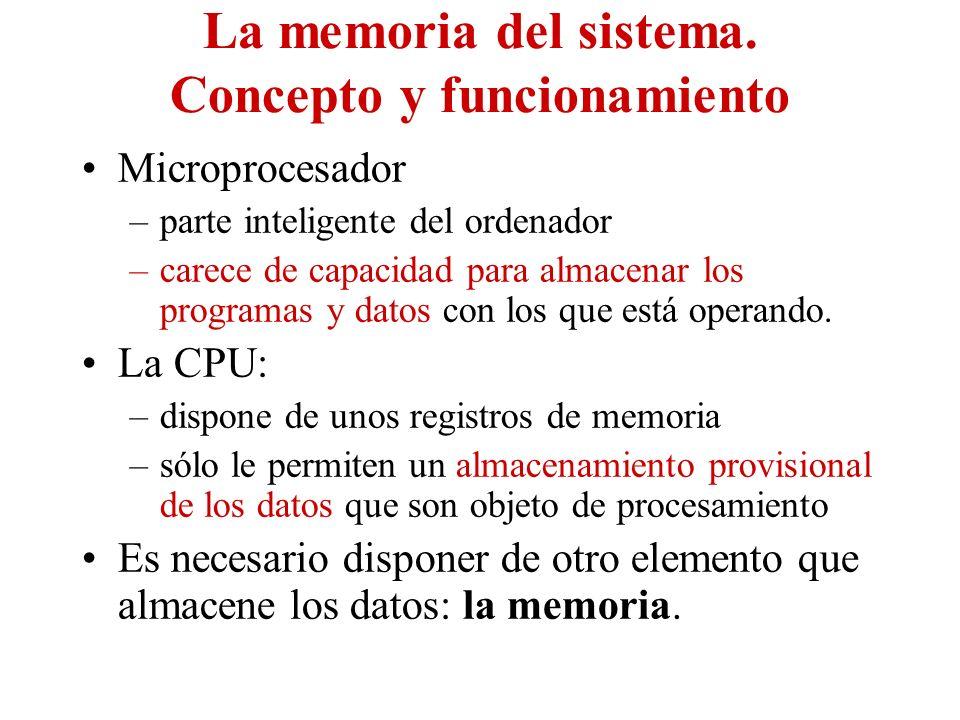 La memoria del sistema. Concepto y funcionamiento Microprocesador –parte inteligente del ordenador –carece de capacidad para almacenar los programas y