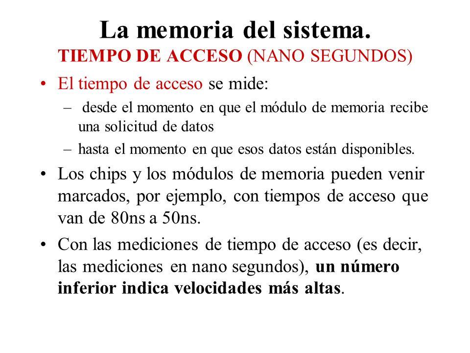 La memoria del sistema. TIEMPO DE ACCESO (NANO SEGUNDOS) El tiempo de acceso se mide: – desde el momento en que el módulo de memoria recibe una solici
