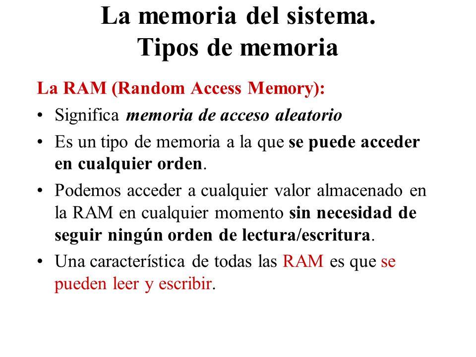 La memoria del sistema. Tipos de memoria La RAM (Random Access Memory): Significa memoria de acceso aleatorio Es un tipo de memoria a la que se puede