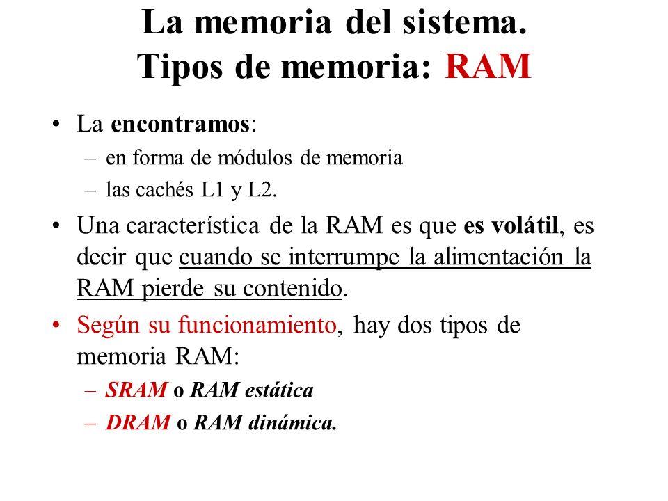 La memoria del sistema. Tipos de memoria: RAM La encontramos: –en forma de módulos de memoria –las cachés L1 y L2. Una característica de la RAM es que