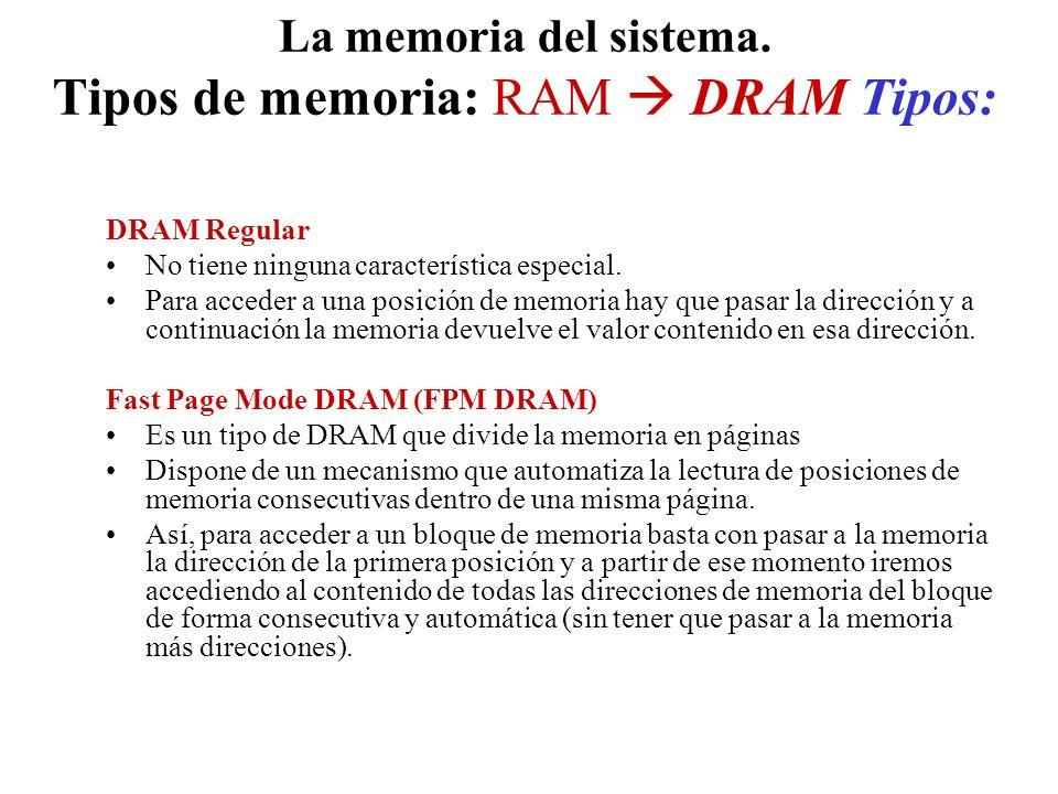La memoria del sistema. Tipos de memoria: RAM DRAM Tipos: DRAM Regular No tiene ninguna característica especial. Para acceder a una posición de memori
