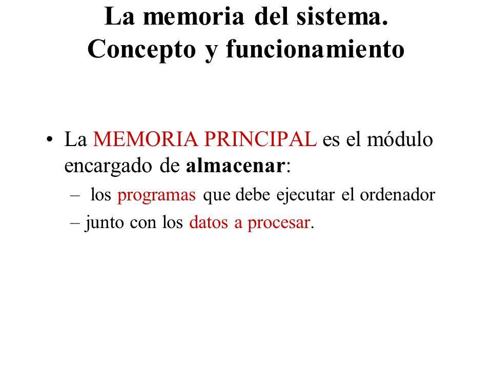 La memoria del sistema. Concepto y funcionamiento La MEMORIA PRINCIPAL es el módulo encargado de almacenar: – los programas que debe ejecutar el orden