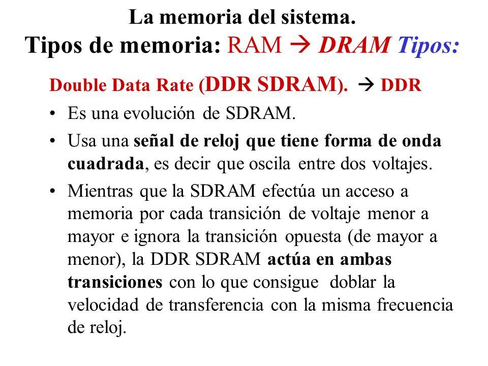 La memoria del sistema. Tipos de memoria: RAM DRAM Tipos: Double Data Rate ( DDR SDRAM ). DDR Es una evolución de SDRAM. Usa una señal de reloj que ti