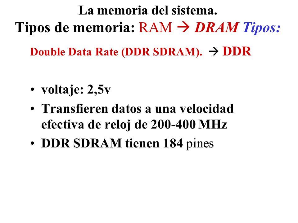 La memoria del sistema. Tipos de memoria: RAM DRAM Tipos: Double Data Rate (DDR SDRAM). DDR voltaje: 2,5v Transfieren datos a una velocidad efectiva d