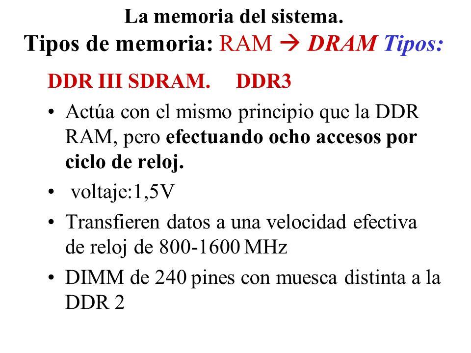 La memoria del sistema. Tipos de memoria: RAM DRAM Tipos: DDR III SDRAM. DDR3 Actúa con el mismo principio que la DDR RAM, pero efectuando ocho acceso