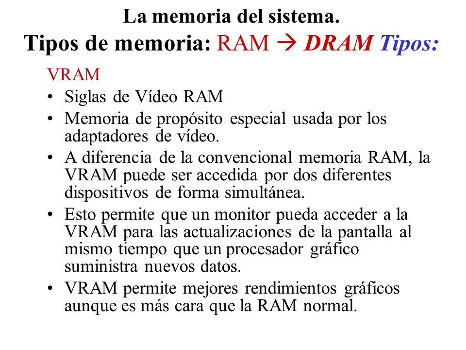 La memoria del sistema. Tipos de memoria: RAM DRAM Tipos: VRAM Siglas de Vídeo RAM Memoria de propósito especial usada por los adaptadores de vídeo. A