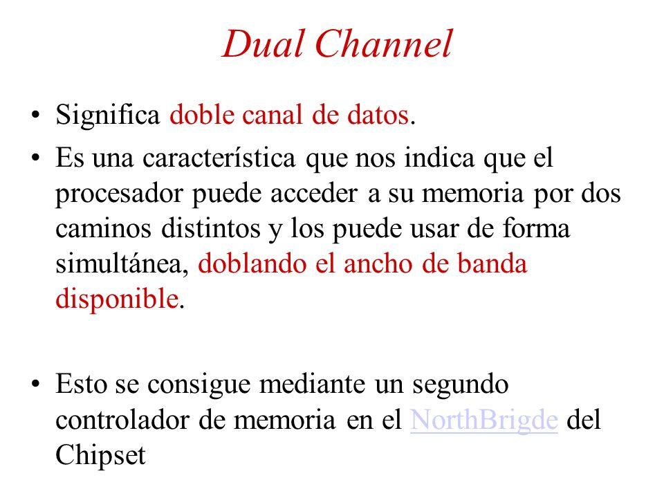 Dual Channel Significa doble canal de datos. Es una característica que nos indica que el procesador puede acceder a su memoria por dos caminos distint