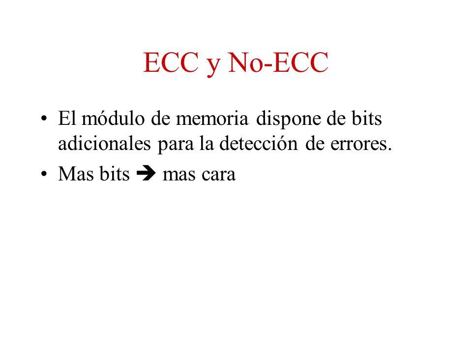 ECC y No-ECC El módulo de memoria dispone de bits adicionales para la detección de errores. Mas bits mas cara