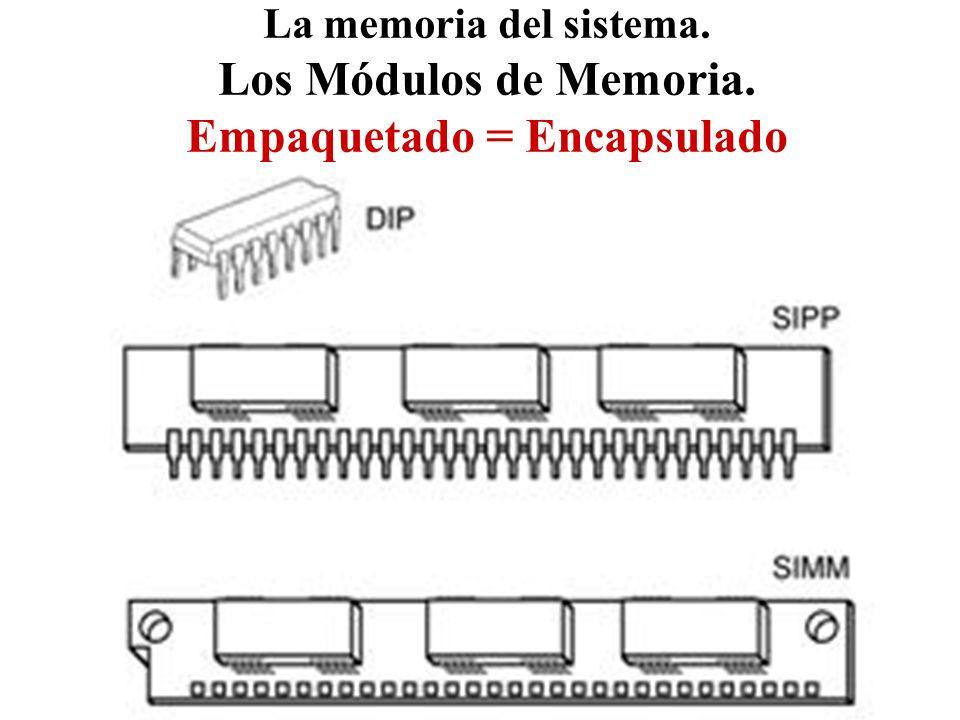 La memoria del sistema. Los Módulos de Memoria. Empaquetado = Encapsulado