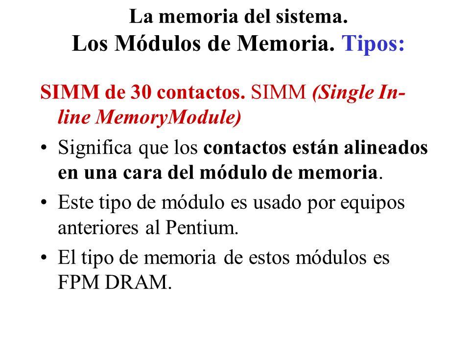 La memoria del sistema.Los Módulos de Memoria. Tipos: SIMM de 30 contactos.