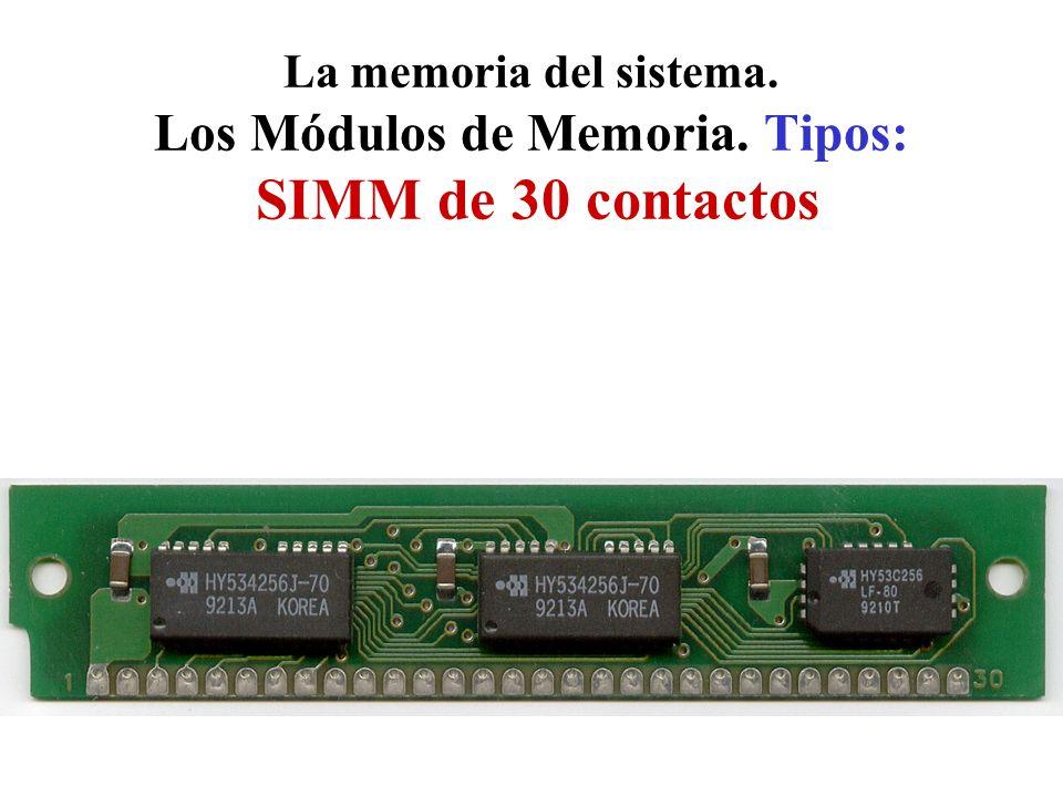La memoria del sistema. Los Módulos de Memoria. Tipos: SIMM de 30 contactos