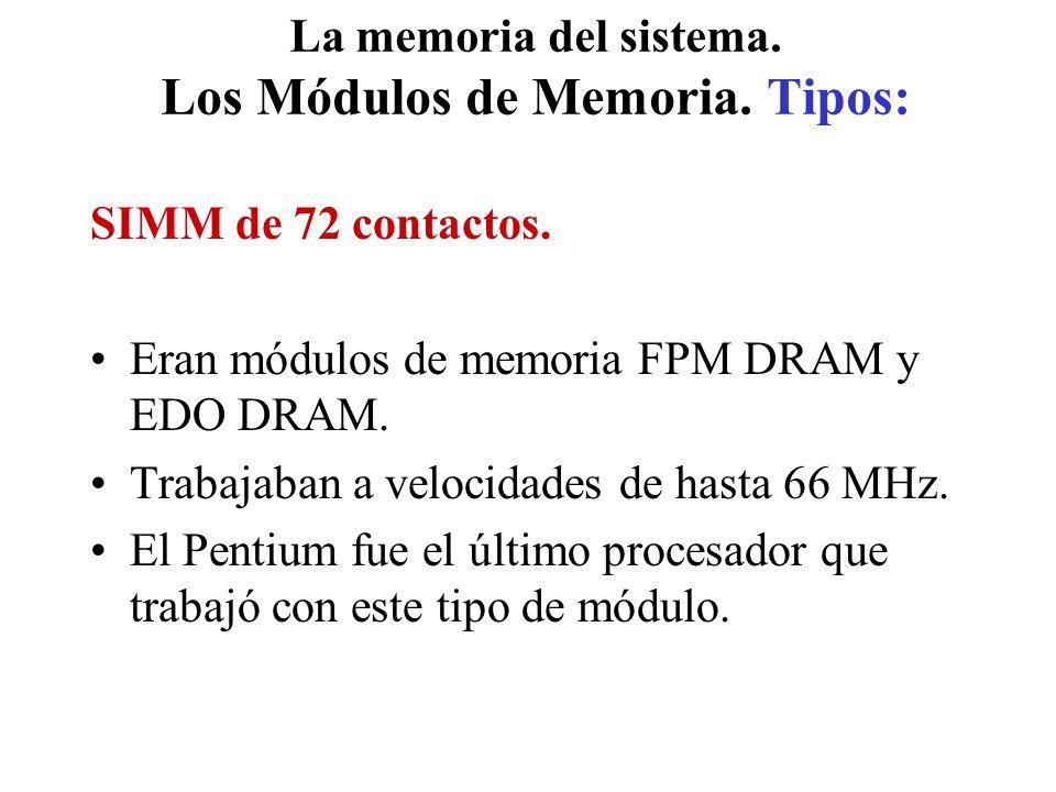La memoria del sistema. Los Módulos de Memoria. Tipos: SIMM de 72 contactos. Eran módulos de memoria FPM DRAM y EDO DRAM. Trabajaban a velocidades de