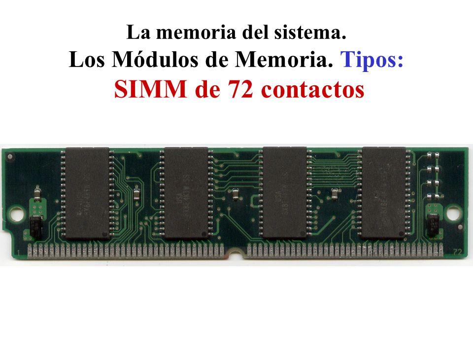 La memoria del sistema. Los Módulos de Memoria. Tipos: SIMM de 72 contactos