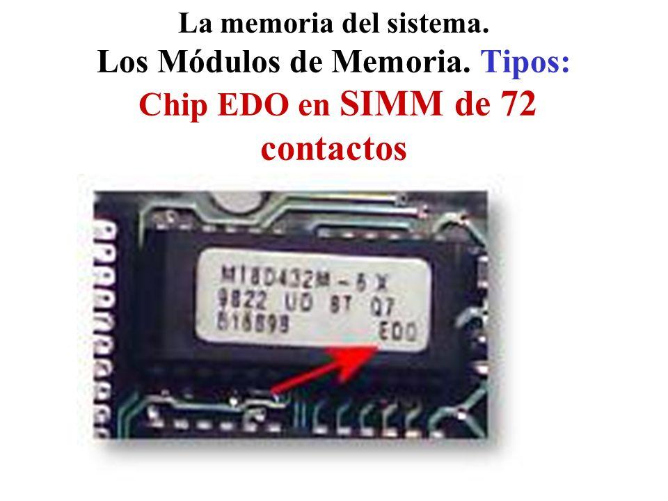 La memoria del sistema. Los Módulos de Memoria. Tipos: Chip EDO en SIMM de 72 contactos