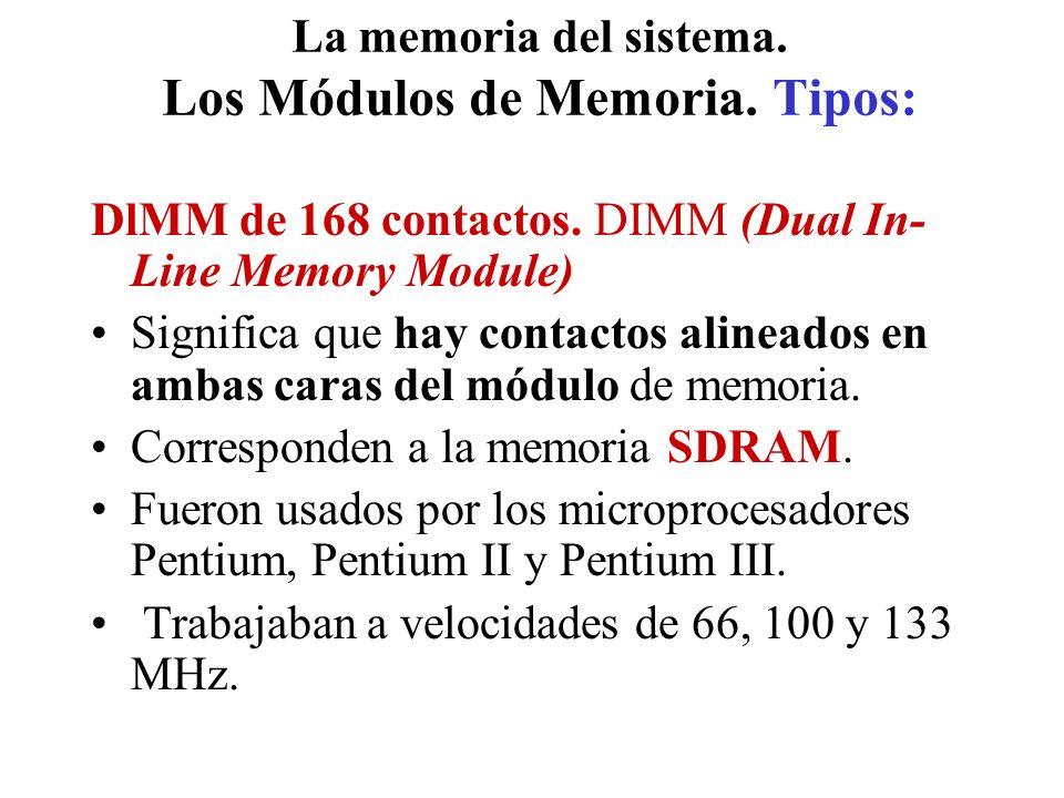 La memoria del sistema. Los Módulos de Memoria. Tipos: DlMM de 168 contactos. DIMM (Dual In- Line Memory Module) Significa que hay contactos alineados
