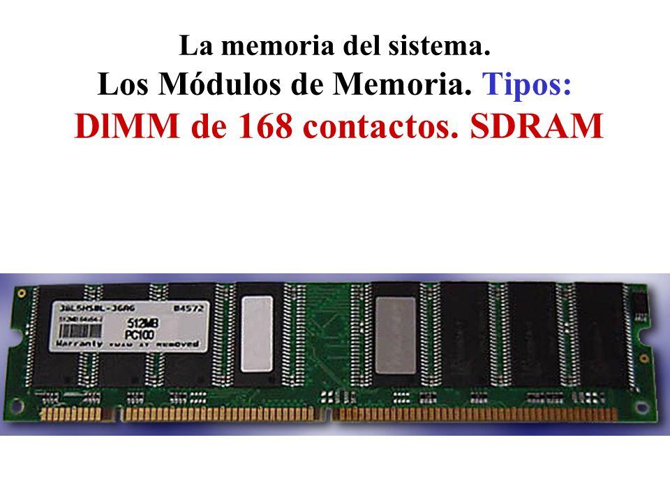 La memoria del sistema. Los Módulos de Memoria. Tipos: DlMM de 168 contactos. SDRAM