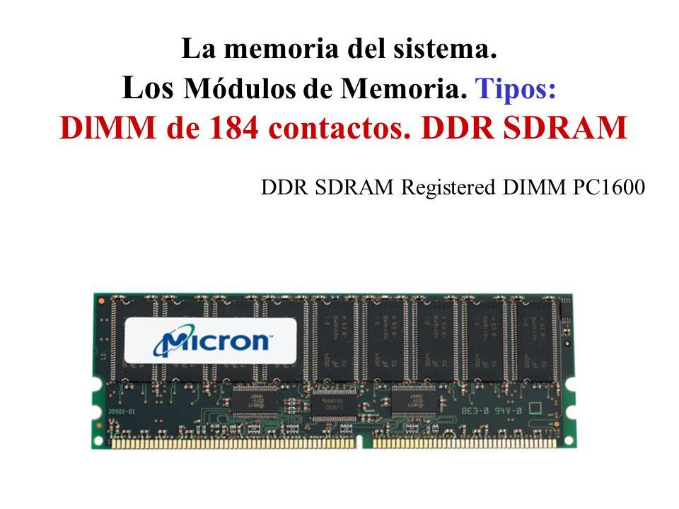 La memoria del sistema. Los Módulos de Memoria. Tipos: DlMM de 184 contactos. DDR SDRAM DDR SDRAM Registered DIMM PC1600