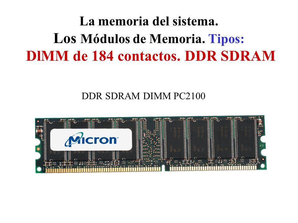La memoria del sistema. Los Módulos de Memoria. Tipos: DlMM de 184 contactos. DDR SDRAM DDR SDRAM DIMM PC2100