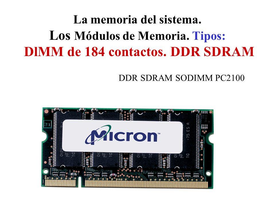 La memoria del sistema. Los Módulos de Memoria. Tipos: DlMM de 184 contactos. DDR SDRAM DDR SDRAM SODIMM PC2100