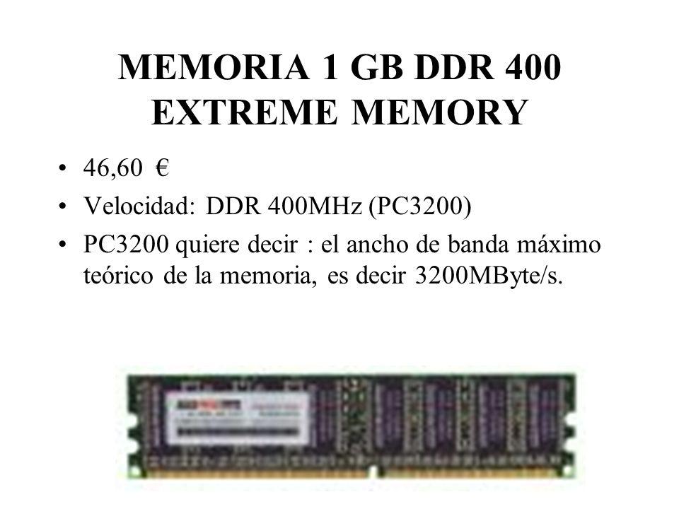 MEMORIA 1 GB DDR 400 EXTREME MEMORY 46,60 Velocidad: DDR 400MHz (PC3200) PC3200 quiere decir : el ancho de banda máximo teórico de la memoria, es decir 3200MByte/s.