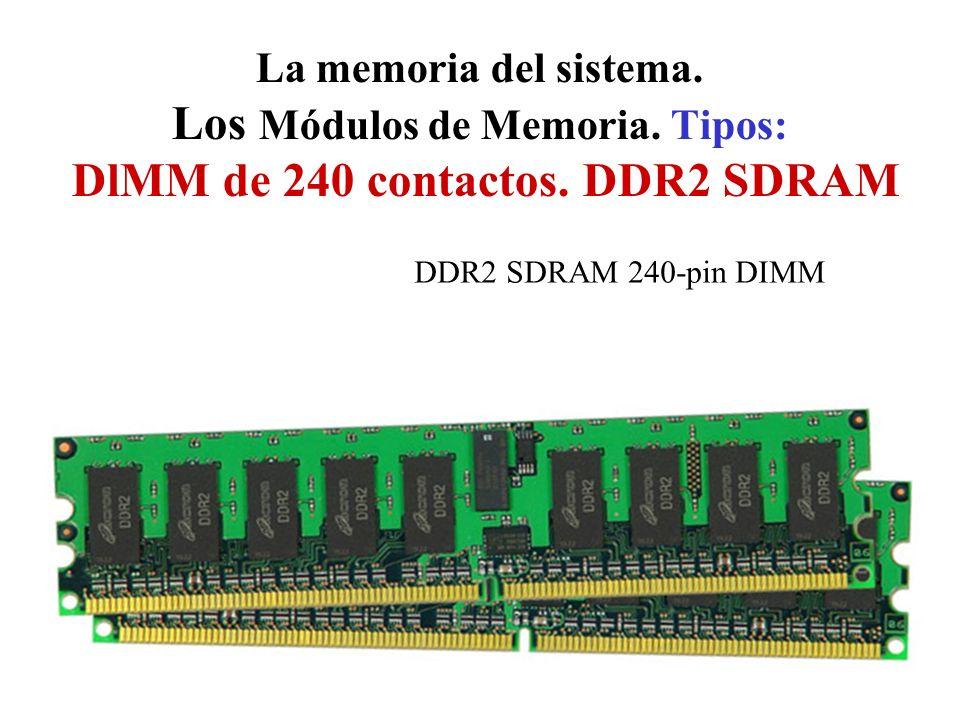 La memoria del sistema. Los Módulos de Memoria. Tipos: DlMM de 240 contactos. DDR2 SDRAM DDR2 SDRAM 240-pin DIMM
