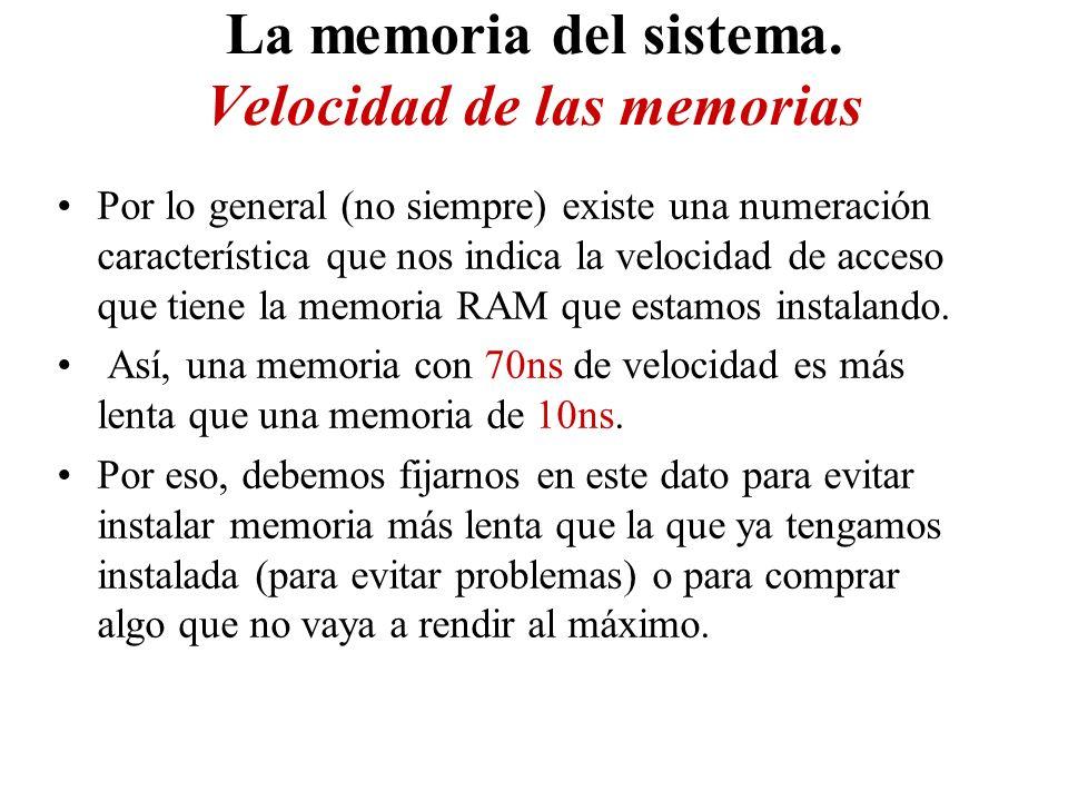 La memoria del sistema. Velocidad de las memorias Por lo general (no siempre) existe una numeración característica que nos indica la velocidad de acce