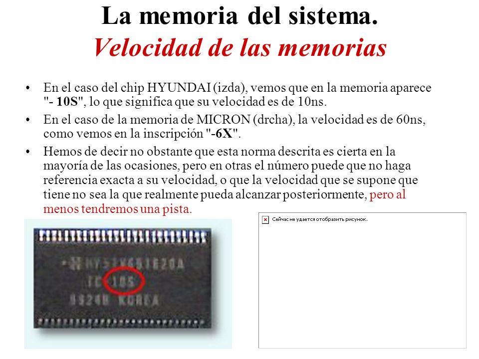 La memoria del sistema. Velocidad de las memorias En el caso del chip HYUNDAI (izda), vemos que en la memoria aparece