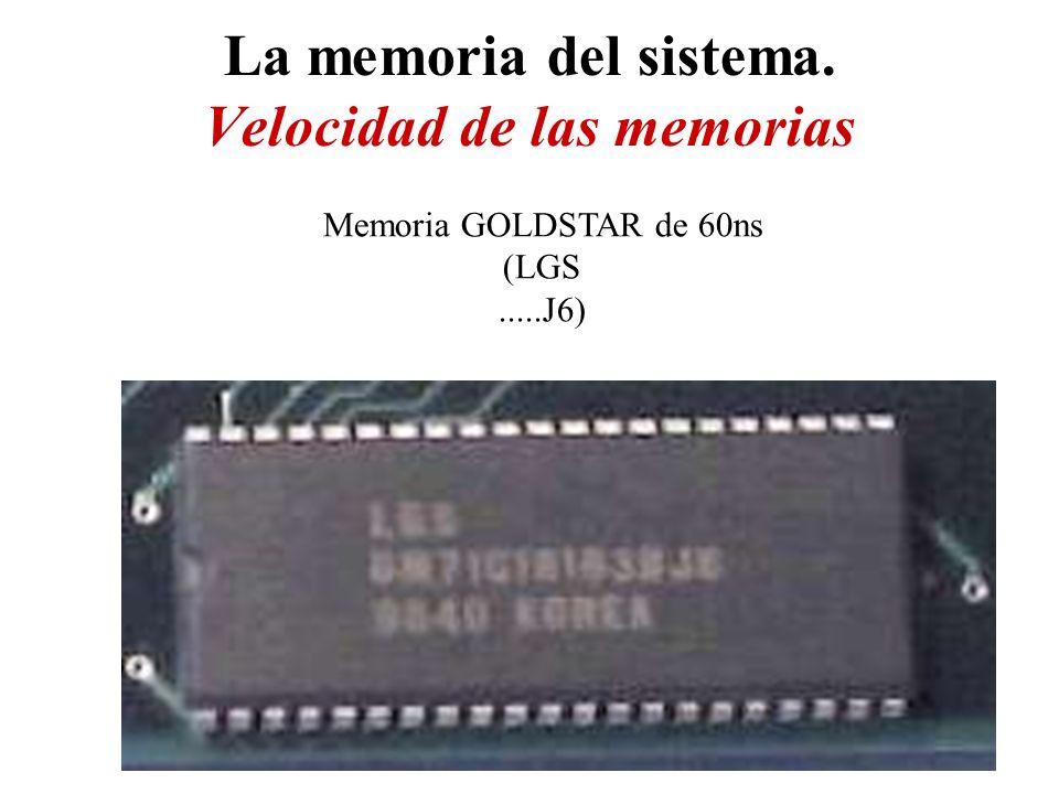 La memoria del sistema. Velocidad de las memorias Memoria GOLDSTAR de 60ns (LGS.....J6)