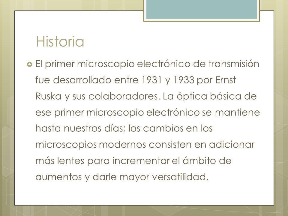Historia El primer microscopio electrónico de transmisión fue desarrollado entre 1931 y 1933 por Ernst Ruska y sus colaboradores.