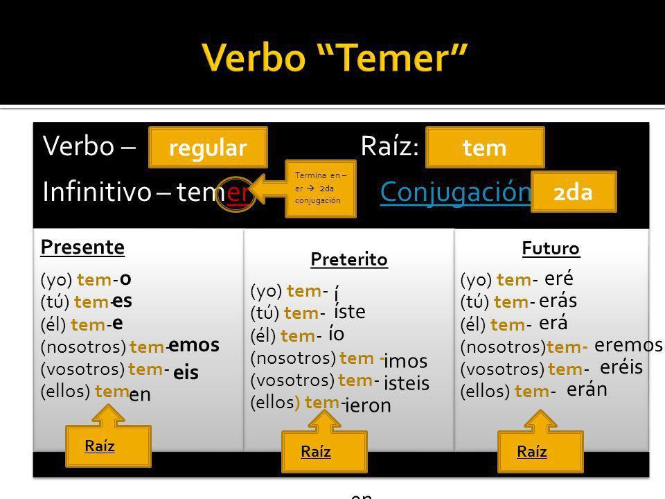 Verbo – Raíz: Infinitivo – temer Conjugación:Conjugación Presente (yo) tem- (tú) tem- (él) tem- (nosotros) tem- (vosotros) tem- (ellos) tem- Preterito (yo) tem- (tú) tem- (él) tem- (nosotros) tem - (vosotros) tem- (ellos) tem- Futuro (yo) tem- (tú) tem- (él) tem- (nosotros)tem- (vosotros) tem- (ellos) tem- Termina en – er 2 da conjugación Raíz regulartem 2da o es en e emos eis í en íste ío imos ieron isteis eré erás erá eréis erán eremos