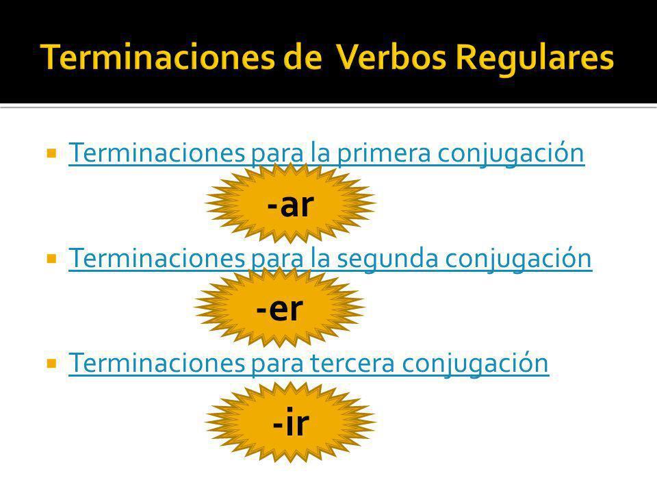 Terminaciones para la primera conjugación Terminaciones para la segunda conjugación Terminaciones para tercera conjugación -ar -er -ir