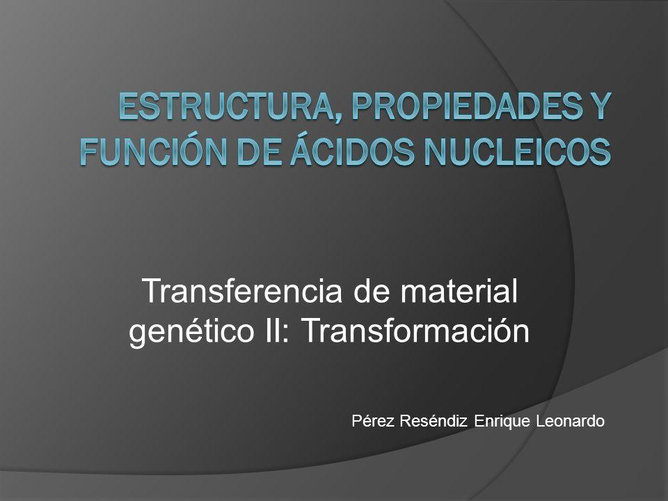 Transferencia de material genético II: Transformación Pérez Reséndiz Enrique Leonardo