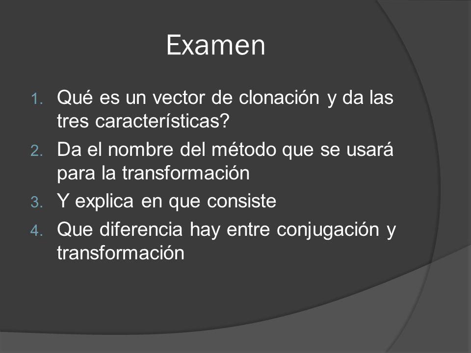 Examen 1. Qué es un vector de clonación y da las tres características? 2. Da el nombre del método que se usará para la transformación 3. Y explica en