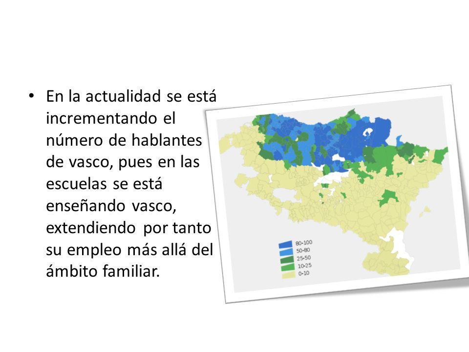 En la actualidad se está incrementando el número de hablantes de vasco, pues en las escuelas se está enseñando vasco, extendiendo por tanto su empleo más allá del ámbito familiar.