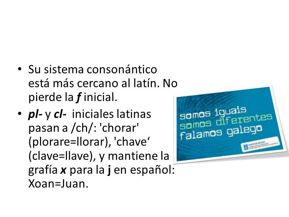 Conserva pl-, cl-, fl-: plor (lloro, llanto) El l é xico catalán está más cercano al lat í n que el del castellano: menjar (manducare= comer) parlar (parabolare= hablar)