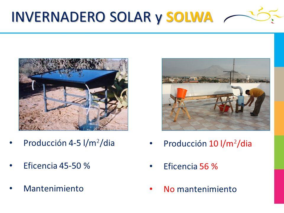 INVERNADERO SOLAR y SOLWA Producción 10 l/m 2 /dia Eficencia 56 % No mantenimiento Producción 4-5 l/m 2 /dia Eficencia 45-50 % Mantenimiento
