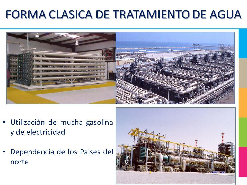 FORMA CLASICA DE TRATAMIENTO DE AGUA Utilización de mucha gasolina y de electricidad Dependencia de los Paises del norte