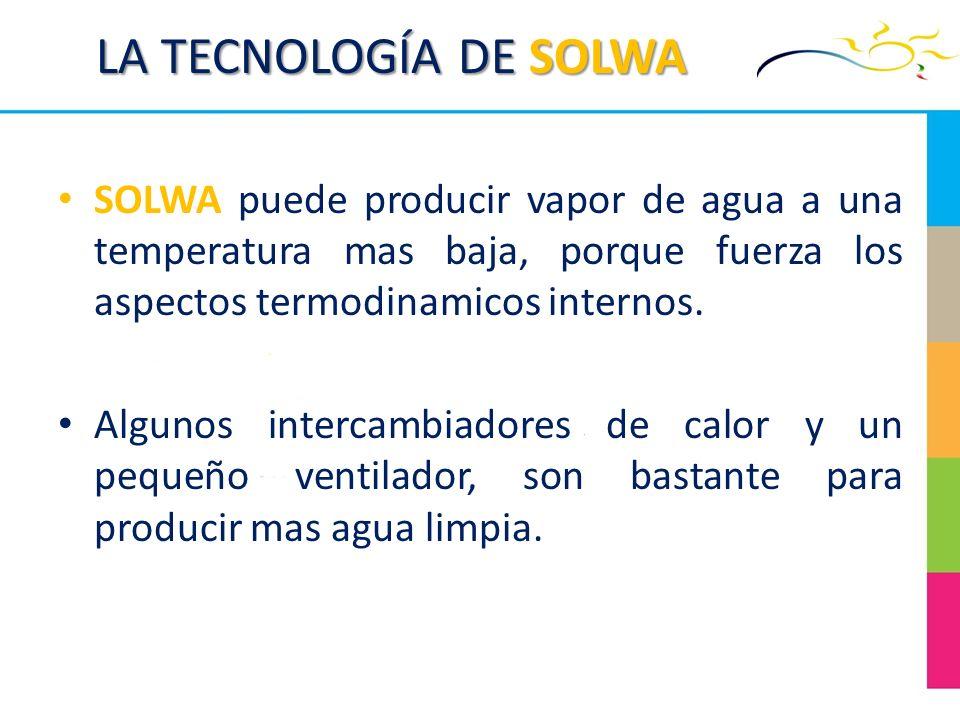 LA TECNOLOGÍA DE SOLWA SOLWA puede producir vapor de agua a una temperatura mas baja, porque fuerza los aspectos termodinamicos internos. Algunos inte