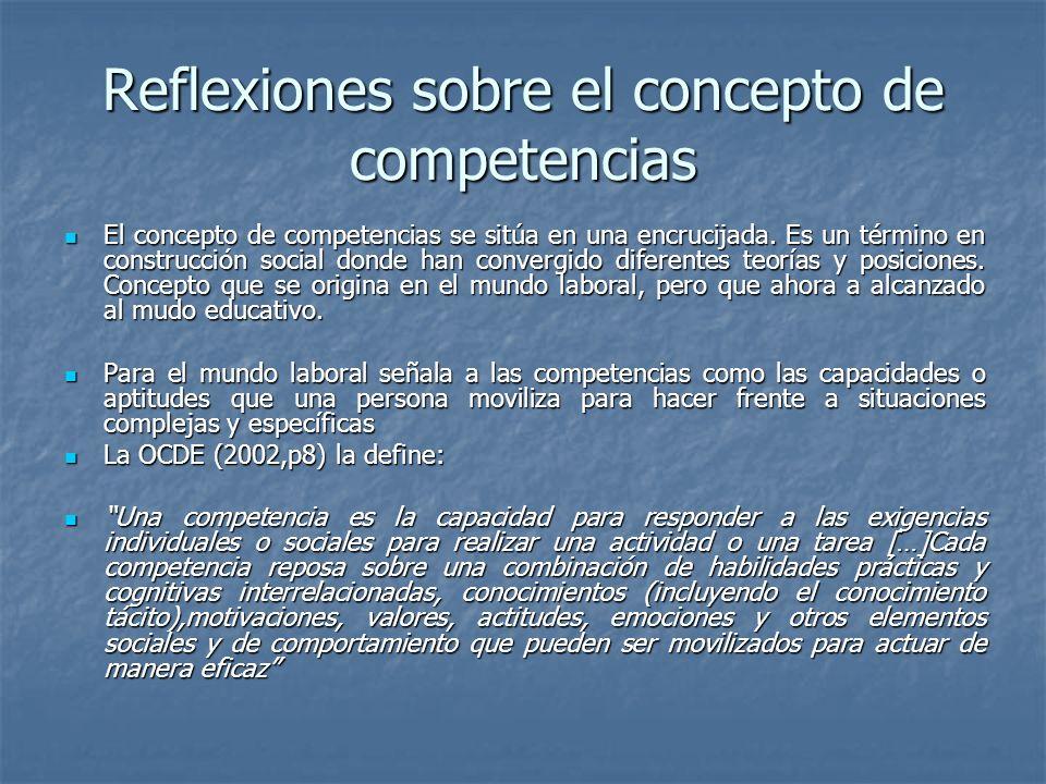 Reflexiones sobre el concepto de competencias El concepto de competencias se sitúa en una encrucijada. Es un término en construcción social donde han