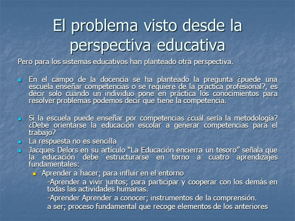 El problema visto desde la perspectiva educativa Pero para los sistemas educativos han planteado otra perspectiva. En el campo de la docencia se ha pl