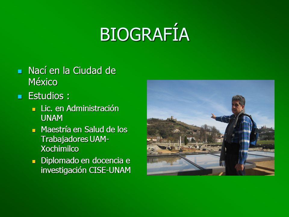 BIOGRAFÍA Nací en la Ciudad de México Nací en la Ciudad de México Estudios : Estudios : Lic. en Administración UNAM Lic. en Administración UNAM Maestr