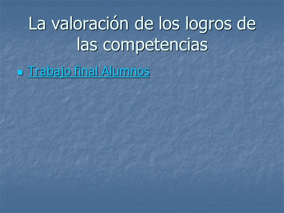 La valoración de los logros de las competencias Trabajo final Alumnos Trabajo final Alumnos Trabajo final Alumnos Trabajo final Alumnos