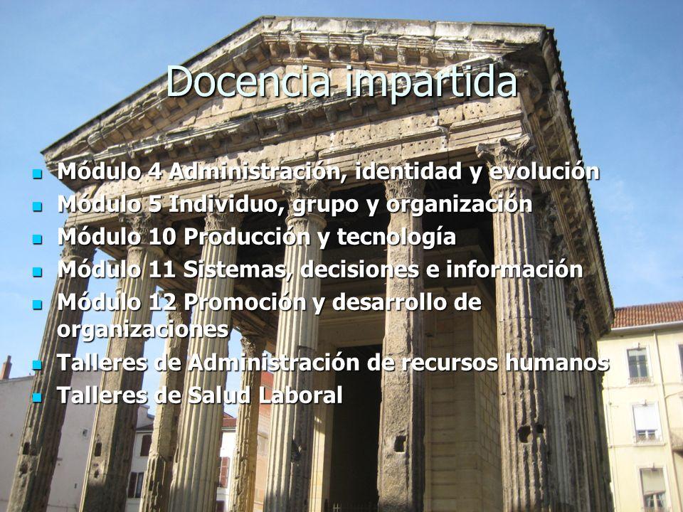 Docencia impartida Módulo 4 Administración, identidad y evolución Módulo 4 Administración, identidad y evolución Módulo 5 Individuo, grupo y organizac