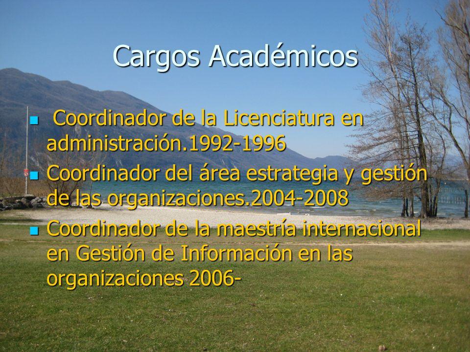 Cargos Académicos Coordinador de la Licenciatura en administración.1992-1996 Coordinador de la Licenciatura en administración.1992-1996 Coordinador de