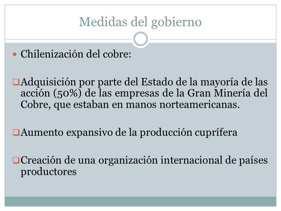 Medidas del gobierno Chilenización del cobre: Adquisición por parte del Estado de la mayoría de las acción (50%) de las empresas de la Gran Minería de