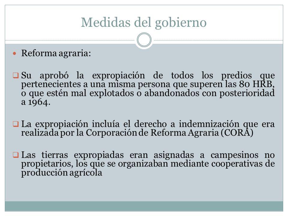 Medidas del gobierno Reforma agraria: Su aprobó la expropiación de todos los predios que pertenecientes a una misma persona que superen las 80 HRB, o