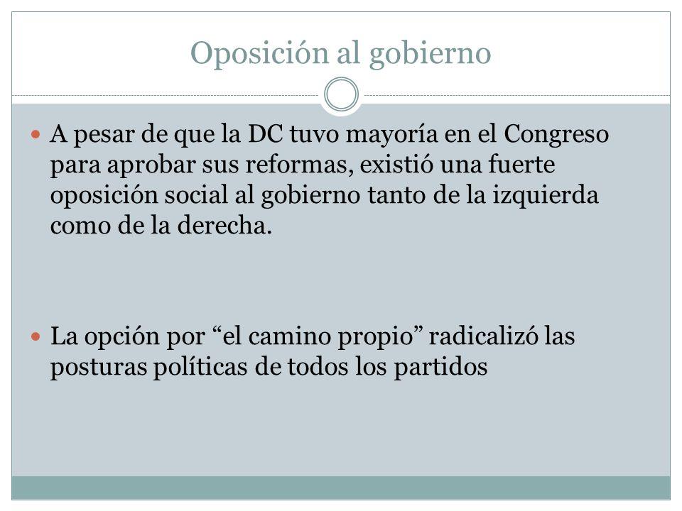 Oposición al gobierno A pesar de que la DC tuvo mayoría en el Congreso para aprobar sus reformas, existió una fuerte oposición social al gobierno tant