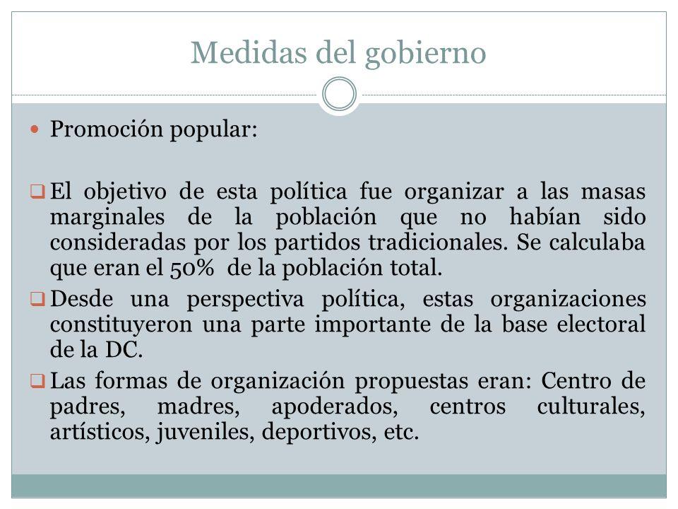 Medidas del gobierno Promoción popular: El objetivo de esta política fue organizar a las masas marginales de la población que no habían sido considera